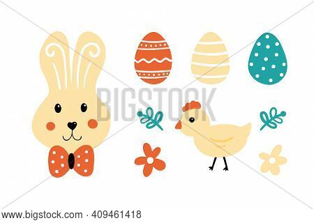 Cute Cartoon Style Vector Icons, Illustration For Easter Holiday Design. Easter Bunny, Decorated Egg