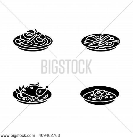 Korean Food Glyph Icons. Set Of Traditional Korean Dishes .eastern Meal, Meat, Vegetables And Sauces