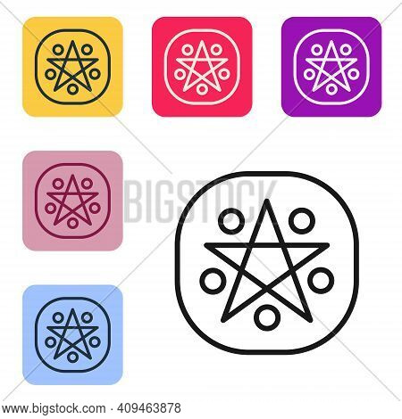 Black Line Pentagram In A Circle Icon Isolated On White Background. Magic Occult Star Symbol. Set Ic