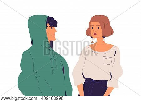 Tension And Negative Relations Between Unfriendly People. Couple With Tensed Serious Faces. Misunder