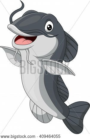 Vector Illustration Of Cartoon Happy Catfish On White Background