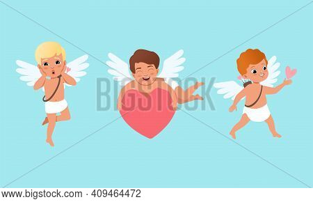 Cute Baby Cherubs With Wings Set, Funny Lovely Boys Cupid Characters In Different Actions Cartoon Ve
