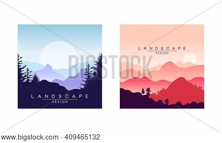 Beautiful Peaceful Mountain Landscape At Sunrise And Sunset, Majestic Nature Background, Banner, Pos