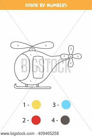 Color Cartoon Helicopter By Numbers. Transportation Worksheet.