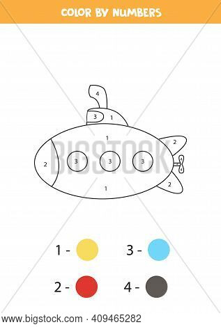 Color Cartoon Submarine By Numbers. Transportation Worksheet.