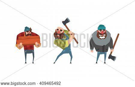 Bearded Lumberjack In Plaid Shirt Set, Powerful Woodcutter Character With Axe Cartoon Vector Illustr