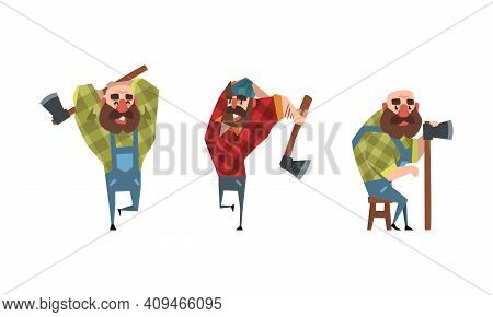 Bearded Lumberjack Characters With Axe Set, Powerful Woodcutter Character At Work Cartoon Vector Ill