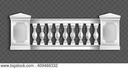 White Marble Balustrade, Classic European Architecture Balcony, Handrail Front View On Transparent B