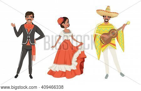 Mexican Men And Woman In Traditional National Clothes Set, Dancers And Musician Characters Cartoon V