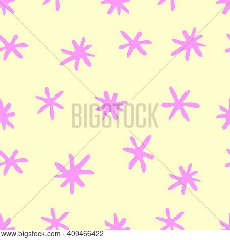 Vector Seamless Pattern From Hand Drawn Primitive Stars, Flowers In Doodle Flat Style. Bright Simple