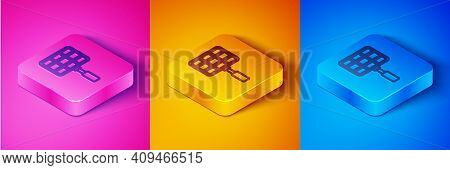 Isometric Line Barbecue Steel Grid Icon Isolated On Pink And Orange, Blue Background. Top View Of Bb