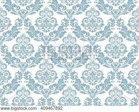 Wallpaper In The Style Of Baroque. Seamless Vector Background. White And Blue Floral Ornament. Graph