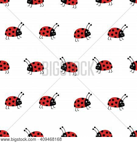 Seamless Ladybug Vector Background. Flat Red Ladybugs On White Repeating Pattern. Cute Summer Bug An