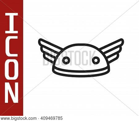 Black Line Helmet With Wings Icon Isolated On White Background. Greek God Hermes. Vector