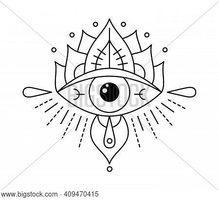 Vector Boho Mystic Eye Tattoo. Providence Sight Witchcraft Symbol. Evil Eye Amulet Geometric Ornamen