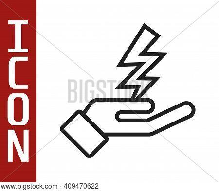 Black Line Zeus Icon Isolated On White Background. Greek God. God Of Lightning. Vector