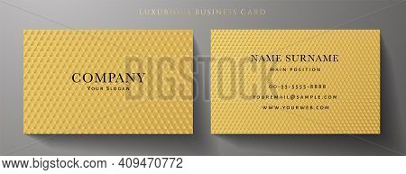Business Card With Luxury Abstract Gold Triangle Pattern (golden Carbon Texture). Formal Premium Bac