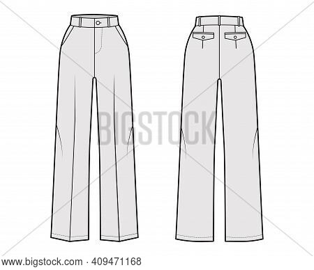 Pants Tailored Technical Fashion Illustration With Normal Waist, High Rise, Full Length, Slant, Flap