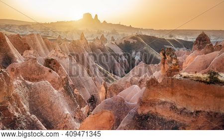 Red valley in Cappadocia at sunset time, Central Anatolia,Turkey