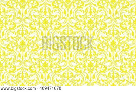 Floral Pattern. Vintage Wallpaper In The Baroque Style. Seamless Vector Background. White And Yellow