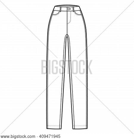 Skinny Jeans Denim Pants Technical Fashion Illustration With Full Length, Normal Waist, High Rise, C