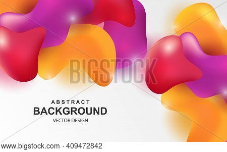 Colorful Abstract Background With Multicolored 3d Objects. Shiny Red, Orange And Purple Realistic El