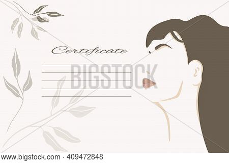 Certificate With Abstract Minimalistic Woman Portrait And Field For Text. Vector Template For Diplom