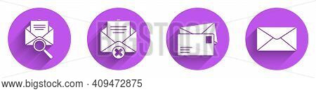 Set Envelope With Magnifying Glass, Delete Envelope, Envelope And Envelope Icon With Long Shadow. Ve
