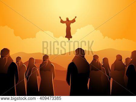 Biblical Vector Illustration Series, The Ascension Of Jesus