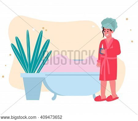 A Girl After A Bath In A Bathrobe And With A Towel On Her Head Drinks Tea, A Girl After Bath Procedu