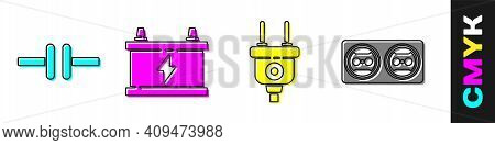 Set Electric Circuit Scheme, Car Battery, Electric Plug And Electrical Outlet Icon. Vector