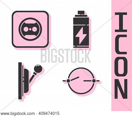 Set Electric Circuit Scheme, Electrical Outlet, Electrical Panel And Battery Icon. Vector