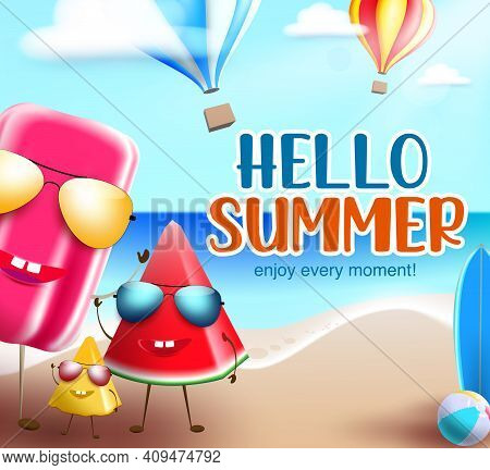 Hello Summer Characters Vector Banner Background. Hello Summer Text With Funny And Friendly Popsicle