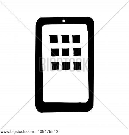 Smartphone Icon, Sticker. Sketch Hand Drawn Doodle Style. Vector, Minimalism, Monochrome. Phone, Blo