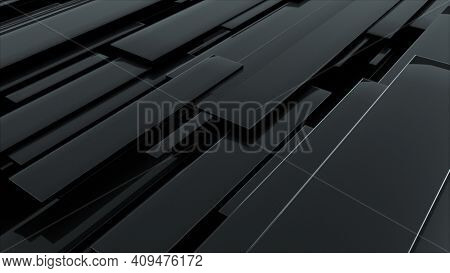 3d Rendering Of Black Glossy Rectangular Panels At Different Levels. Computer Generated Abstract Geo