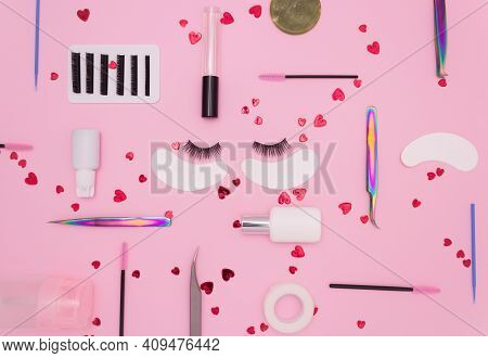 Eyelash Extension Tools, Artificial Eyelashes And Red Hearts On A Pink Background. Tools For The Las