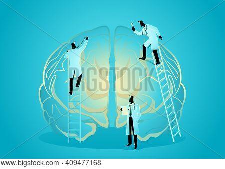 Vector Graphic Illustration Of Team Of Doctors Diagnose Human Brain. Neurologist Concept