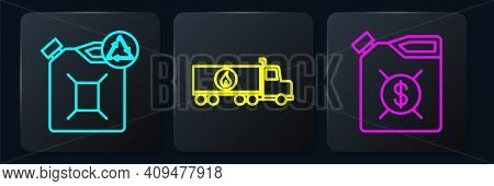 Set Line Eco Fuel Canister, Canister For Motor Machine Oil And Tanker Truck. Black Square Button. Ve
