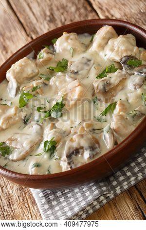 Ciulama De Pui Cu Ciuperci Romanian Chicken And Mushroom Roux Closeup In The Bowl On The Table. Vert