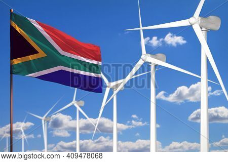 South Africa Alternative Energy, Wind Energy Industrial Concept With Windmills And Flag - Alternativ
