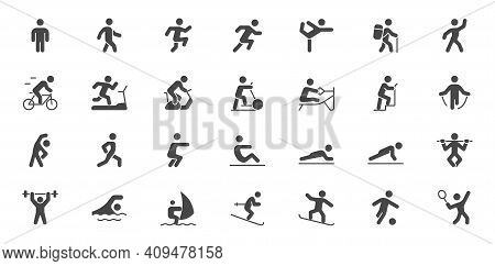 Sport People Simple Flat Glyph Icons. Vector Illustration With Minimal Icon - Exercise, Yoga, Active