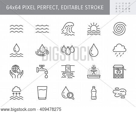 Water Line Icons. Vector Illustration Include Icon Outline Plastic Bottle, Sea Waves, Water Well, Ty