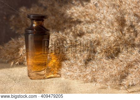 A Bottle Of Perfume Bottle Eau De Parfum On A Background Of Dry Reeds And Canvas, Monochrome Toning,