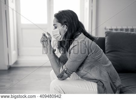 Lonely Woman Suffering From Depression At Home During Coronavirus Lockdown And Social Distancing