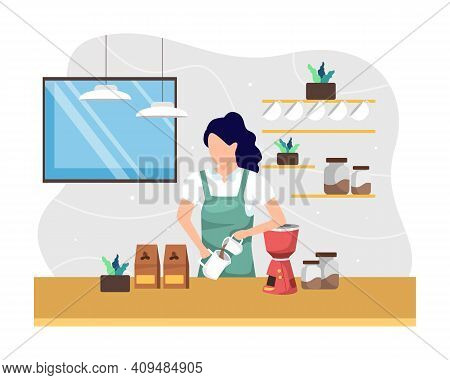 Female Worker Working As Barista Coffee Shop. Manual Brew Coffee, Young Women As Barista Pouring And