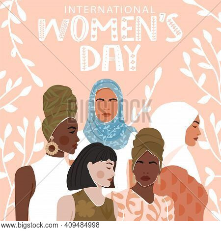 International Women's Day Greeting Card. Abstract Woman Portrait Different Nationalities On Backgrou