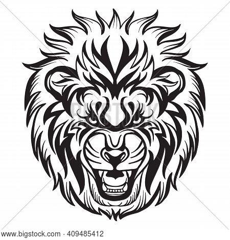 Mascot. Vector Head Of Lion. Black Illustration Of Danger Wild Cat Isolated On White Background. For