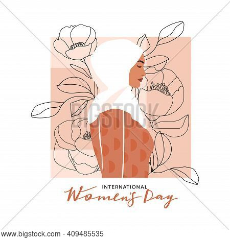 International Women's Day Greeting Card. Abstract Arabic Muslim Woman Portrait With One Line Flowers