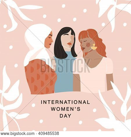 International Women's Day Greeting Card. Abstract Woman Portrait Different Nationalities On Geometri
