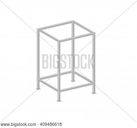 Steel Structure Framework On White Background. Structural Steel Beam Vector.